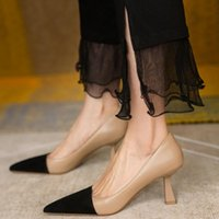 Dress Shoes 2022 Women Pumps OL Fashion Spell Color High Heels Single Female Spring Summer Patent Leather Wedding Party Woman