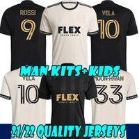 MLS 21 22 LA Galaxy Hayranları Futbol Forması Tops 2021 2022 Carlos Vela Formalar Zelaya Rossi Los Angeles FC Siyah Parley Birincil Beyaz Futbol Gömlek + Çocuklar