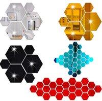 12 ШТ. / Набор 3D Hexagon Зеркало Стикер Акриловые Украшения Стены Домашние Украшения Аксессуары для гостиной Арт Обои Наклейки