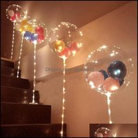Other Festive Supplies Home & Garden1Set Balloon With Column Luminous Transparent Bobo Balloons Stand Led String Lights Wedding Birthday Par