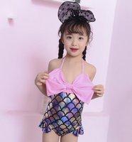 Mermaid Kız Tek Adet Mayo Çocuk Bikini Bebek Balık Ölçeği Mayo Karikatür Sevimli Prenses Mayo Çocuklar Yüzmek Giysileri