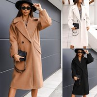 Women's Wool & Blends 2021 Autumn And Winter Double-breasted Suit Collar Solid Color Long Woolen Coat