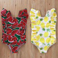 Bebé lindo piña-impresión sandía-estampado mameluco niña traje de baño niños trajes de baño niños nadando infantil niño beachwear popualr