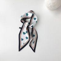 Schals 2021 Mode Liebe Herz Satin Druck Kleine Riband Schal Griff Tasche Lange Ribbon Haarband für Frauen Mädchen Stranddekor