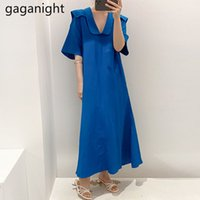 Vintage Sailor Collar Womens Long Dress Summer Casual Solid Party es Short Sleeve Loose Maxi Vestido 210426