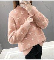 Pulls de pull Femmes Sweaters Femmes O Crous Jumper Imitation Pull en laine Mink Lâche Géométrie Géométrie Vêtements Vestidos LXJ9009