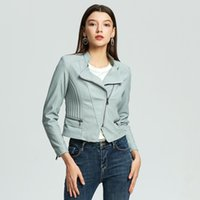 Women's Leather & Faux Ailegogo 6 Colors Autumn Women Moto Biker Stand Collar Zipper Short Jacket Slim Fit Female Streetwear Outwear