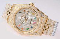 10 Style Men's coloré Diamond Watch Hommes Automatique 2824 Eta Montres Arabe Inchayant Gypsophila Date Date Date Designer Jaune Jubilé Bracelet Bracelet Bracelet