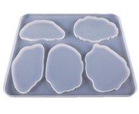 瑪瑙コースター型シリコーン樹脂型5キャビティフレキシブル半透明紫外線樹脂型DIYテーブル装飾製作ツールGGA4639