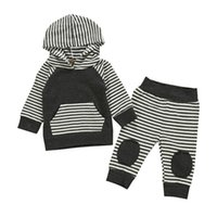 Clothing Sets 2Pcs Baby Boys Autumn Casual Striped Hoodie Tops Pants Outfit