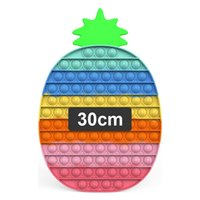 30cm Pop Fidget Toys Huge Large Popit Rainbow Giant Biggest Jumbo Push Bubbles Stress Reliever Squeeze Sensory Toy for Kids Teen Adults, Big Pineapple