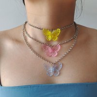 Pendant Necklaces ZX Cute Transparent Resin Big Butterfly Necklace Hip Hop Silver Color Metal Chain Chokers Statement Wholesale