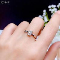 Cluster Rings 2021 Square Crackling Moissanite Gemstone Ring For Women Jewelry Engagement Wedding Real 925 Silver Birthday Gift