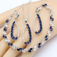 925 Silver Jewelry Sets For Women Wedding Party Blue Sapphire Earrings Bracelet Rings Necklace Pendant Gift Box