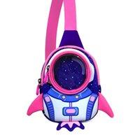 키즈 메신저 가방 어린이 유아 가슴 어깨 가방 로켓 3D 만화 여행 사전 학교 소녀 Boys4-8 년
