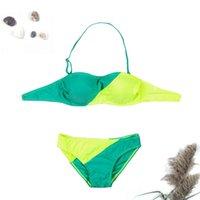 ملابس السباحة فتاة انقسام شنقا الرقبة اللون التباين مثير الأزياء ثلاثة بوينت بيكيني
