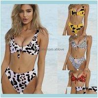 Bikinis Equipamento Esportes Água Ao Ar Livre Sexy Bikini Set Leopardo Impressão Mulheres Swimsuit Beach Ware Laço Um Nó no Busto Feminino Swimwear Drop