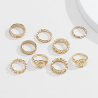 Moon combination Band ring set fashion personality cold wind alloy carved joint-ring simple and versatile hollow star 8 word Cuban chain rings jewelry gift