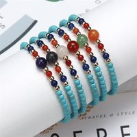 Bohemia Beaded Bracelet Women Men Adjustable Link Chain Braslet Beach Jewelry Yoga Accessories 4mm Turquoise Stone Brazalete Charm 1650 T2