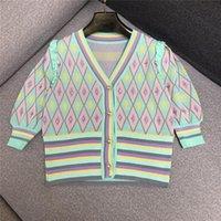 Women's Knits & Tees Designer Knitted Cardigan For Women Vintage V Neck Puff Sleeve Beadig Argyle Sweater