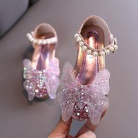 Flat Shoes 2021 Fashion Rhinestone Butterfly Crystal Sandal Kids Princess For Wedding Party Girls Dance Performance Pink Silver