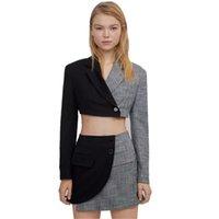 2 stücke Langarmstile formale 2021 Stoff Frauen Mode Patchworkanzüge mit Rock + Jacken Mantel Damen professionelle Blazer zwei stück D dr