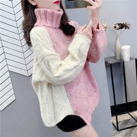 Womens Turtleneck Batwing Sleeve Casual Pullover Sweater Oversize Contrast Color Asymmetric Hem Knit Tops Women's Sweaters
