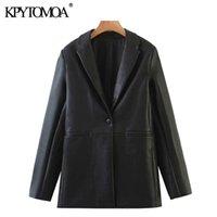 Women's Suits & Blazers KPYTOMOA Women 2021 Fashion Faux Leather Single Button Coat Vintage Long Sleeve Pockets Female Outerwear Chic Tops