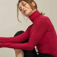 Chohill Fall Slim Fit Осень повседневная модальная база с длинным рукавом футболки Thurtleneck элегантные сплошные цветные вершины для женщин плюс размер