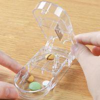 Storage pill cutter splitter Mini Portable Pills Boxes cutters and crus Splitters Case Medicine Box WY1374