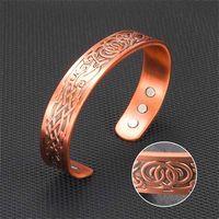Bangle Mens Fashion Jewelry Magnetic Therapy Energy Opening Adjustable Viper Retro Viking Pattern Bracelet