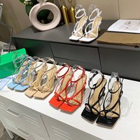 女性のハイヒールのドレスシューズファッションレディースバックルストラップメッシュスクエアトゥサンダルデザイナー女性オフィスパーティーシューズボックス
