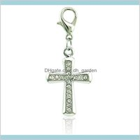 Findings & Components Jewelry30 Pcs Fashion Pendants Dangle Rhinestone Cross Charms With Lobster Clasp Diy Jewelry Making Aessories Drop Del
