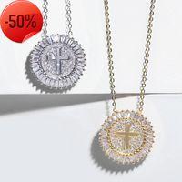 concepteur bijoux nouveaux accessoires pull diamant creusé collier de croix exquis zircon brillant cuivre nkp11