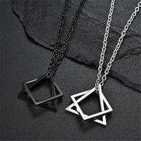 Chains Creative Geometric Square Combination Men's Necklace Cold Wind Ins Hip Hop Net Red Tide Men And Women Couple Pendant Wholesale