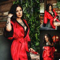 Women Sleepwear Dresses Robe Red Black Lace Appliques Bathrobe Sexy Illusion Bridal Evening Nightdress