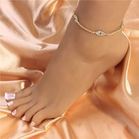 Crystal Rhinestone Evil Eye Charm Anklet Pulsera para Mujeres Girls Summer Beach Foot Jewelry Fashion Vintage Demon Eyes Anklets Accesories Regalo