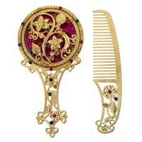 Hair Brushes 1 Set Portable Makeup Mirror Mini Vanity With Comb Elegant