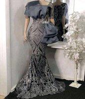 Elegant Grey evening dresses 2021 V-neck Half sleeves zippe Sweep Train Mermaid Sequins applique Long Nigerian Woman prom Dress