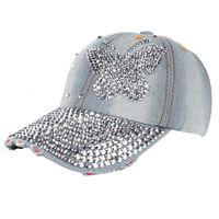 Butterfly Rhintone Baseball Caps Denim Casual Hip Hop Hat Casual Summer Outdoor Snapback Hats Men Women Caps Czapka Z Daszkiem