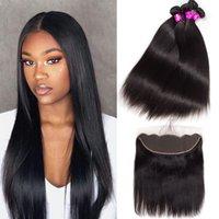 Alinybeauty Straight Hair Bundles With Closure Brazilian Hair Weave Bundles 13x4 Lace Frontal Closure Remy Human Hair 3 Bundles With Frontal