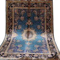 Carpets FangCun 4'x6' Blue Handmade Persian Silk Carpet Hand Knotted Area Rug For Living Rooms And Offices