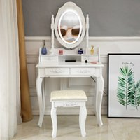 Waco Vanity Masa Oval Ayna LED Işık Ile, Yatak Odası Mobilya Makyaj Seti Yastıklı Dışkı Ahşap Soyunma Masaları, Kızlar Kadınlar Için 4 Çekmeceli, Beyaz