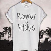 Bonjour Bitches Lettered Baskı Rahat Komik T-shirt kadın Üst Tee Moda Siyah