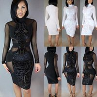 Women Ladies Clothes Dresses Bandage Bodycon Long Sleeve Skinny Party Dress Lace Casual