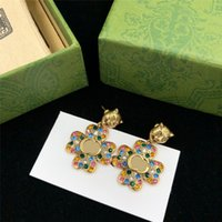 Shiny Colored Diamond Earrings Charm Tiger Head Designer Studs Women Flower Crystal Pendant Earring Eardrop For Party Anniversary With Gift Box