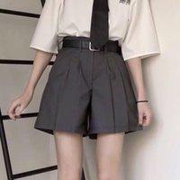 Elegante estilo sólido suelto mujer traje corto verano cintura alta preppy srtle con fajas