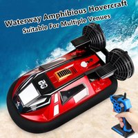 Dual Motor Amphibous Remote Control Hovercraft 20KM H 2.4G Anti-Collision Fuselage 2-Way Navigation Waterproof RC Boat Water toy