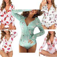 Designer 2021 tracksuits Women Nightwear Playsuit Workout Button Skinny Print Jumpsuits V-neck Short Onesies Plus Size Rompers