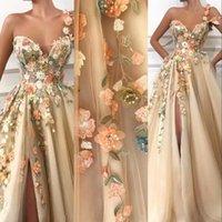 Árabe Champagne Sexy Um ombro 3D Floral Flores Vestidos de Noite Vestidos Lace Appliques Beads Split Tule Especial Ocasiões Partido Festa Vestidos De Prom